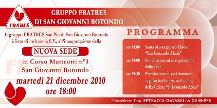 San Giovanni Rotondo NET - Fratres, inaugurazione