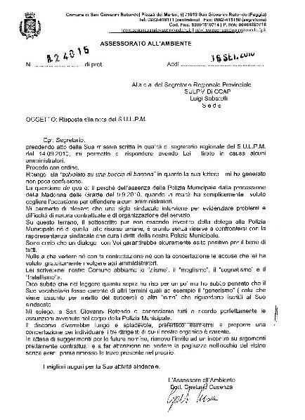 San Giovanni Rotondo NET - Lettera Cusenza a S.U.L.P.M.