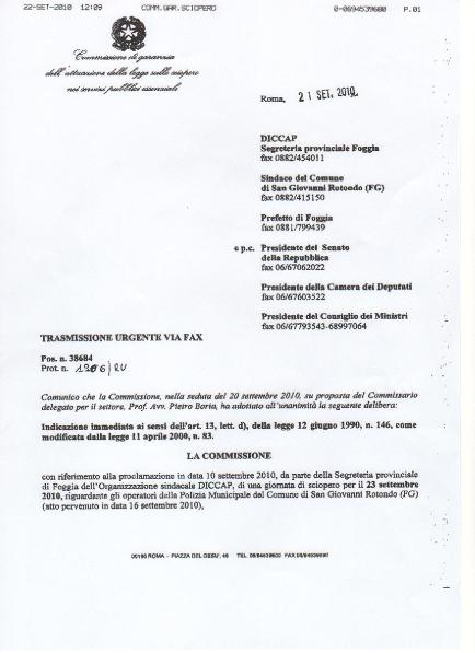 San Giovanni Rotondo NET - Revoca sciopero polizia municipale