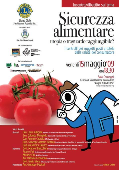San Giovanni Rotondo NET - Locandina incontro su 'Sicurezza Alimentare'