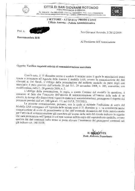 San Giovanni Rotondo NET - EAS, raccomandata del Comune