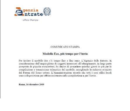 San Giovanni Rotondo NET - EAS, comunicato stampa Agenzia delle Entrate