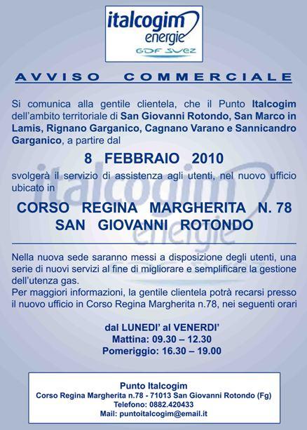 San Giovanni Rotondo NET - Comunicato Italcogim