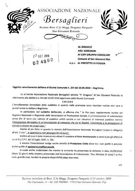 San Giovanni Rotondo NET - Lettera Associazione Bersaglieri