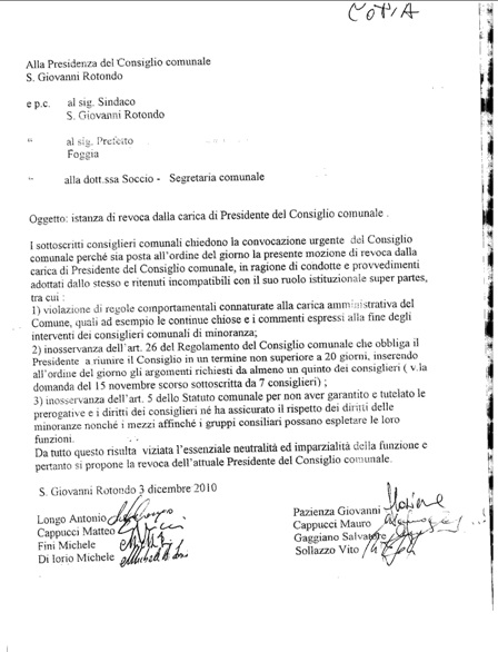 San Giovanni Rotondo NET - Istanza di revoca Presidente del Consiglio Comunale