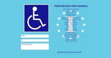 Nuovo contrassegno di parcheggio per disabili