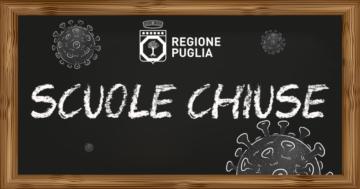 In Puglia da venerdì 30 ottobre sospesa l'attività didattica in presenza