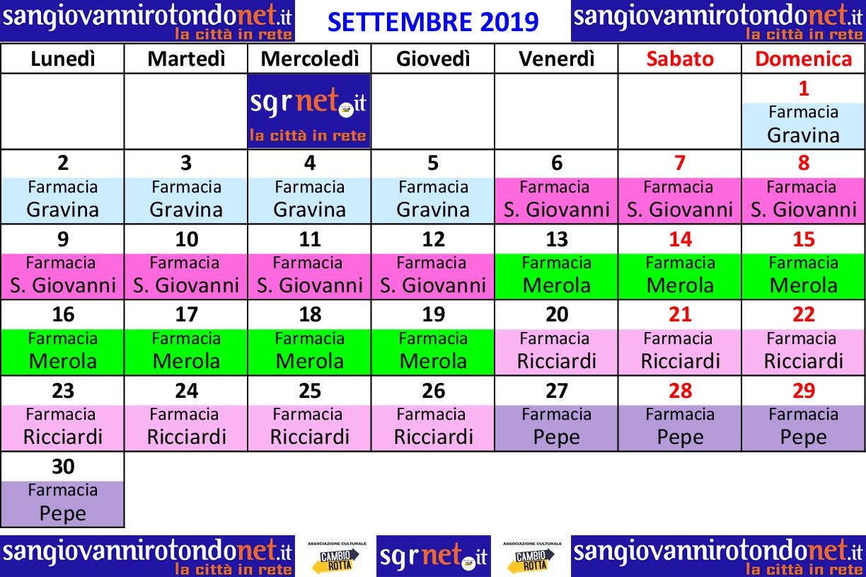 Calendario Settembre 2007.Settembre 2019